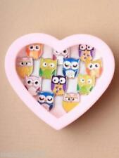 BOX OF 12 ENAMEL OWL RINGS IN 6 DESIGNS, GIRLS, LADIES, FASHION : SP-0538
