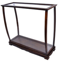 """Brown Large Tall Ship Model Display Case 40"""" Table Top Wood & Plexiglass Cabinet"""