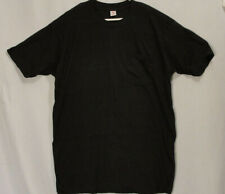 Vintage Hanes Single Stitch Solid Black Pocket Cotton T-Shirt Tee Mens XL