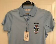 GLENMUIR MICHELLE MERCERISED COTTON SHAPED FIT CRESTED SHIRT BLUE SMALL B.N.W.T.