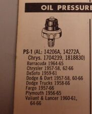 New Sorensen Oil Pressure Switch # PS-1, fits;1953-84 Mopar & 1956-1961 Willy's