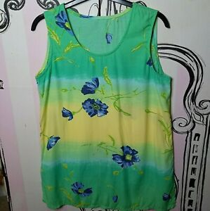 Size 12 Green Yellow Floral Sleeveless Vest Top Tunic