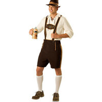 German Oktoberfest Bavarian Mens Lederhosen Beer Costume Fancy Halloween Dress