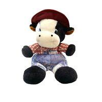 Farmer Cow Plush Stuffed Toy Animal Moo Moo 32cm Seated