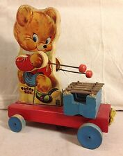 VINTAGE FISHER PRICE 1950 TEDDY ZILO 777 PULL TOY