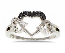 Sterling Silver Black & White Diamond Heart Ring .13ct .925 Diamond Band NR