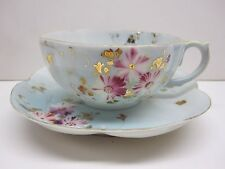 UNMARKED BONE CHINA PALE BLUE FLORAL PATTERN WITH GOLD TRIM