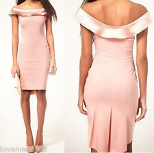 NEW Womens Off shoulder satin trim Casual Career PENIL dress BODYCON PINK MEDIUM