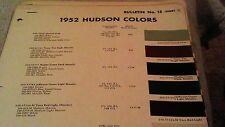 1952  HUDSON     PAINT CHIPS  CHART