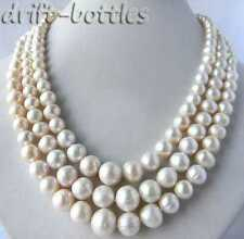 3Strands 18'' 5MM-12MM White Round Freshwater Pearl Tower Necklace