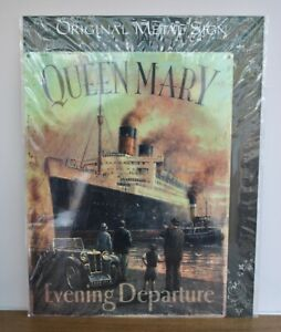 Reproduction Vintage metal sign - Queen Mary - Transport - Large