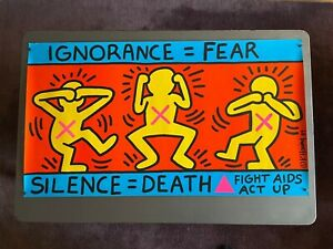 KEITH HARING Silence = Death FIGHT AIDS ACT UP Vintage 1989 Lithograph