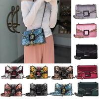 Women Snake Skin Print Style Shoulder Bag Ladies Leather Chain CrossBody Handbag