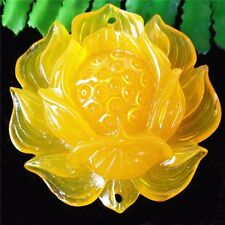 1Pcs Delicate Nice Yellow Tridacna Flower Carved Pendant Bead 55*17mm AE1226