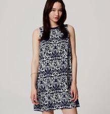 NEW Ann Taylor LOFT Navy Blue White Palace Floral Shift Dress Sz XS