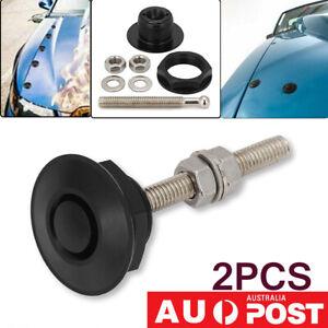 """2Pcs Universal Black Quick Release Push Button Clip Hood Pin Latch Bonnet 1.25"""""""