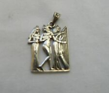 """Egyptian Sterling Silver Three Musicians Pendant  1.25"""""""