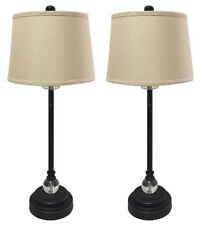 Oil Rub Bronze Buffet Lamps with Linen Beige Hard Back Lamp Shades - Set of 2
