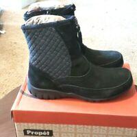 Propet Delaney Ankle Boots sz 7.5 4E Womens Black Mid Zip Shoes