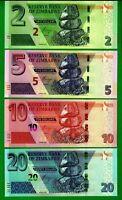 Zimbabwe 2, 5, 10, 20 Dollars  Banknotes Set, 2019/2020 P-NEW HYBRID Giraffe UNC