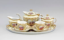 Porzellan Service Watteau-Szene gelb gold  Antikdesign  9987218