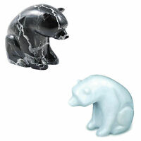 "Polar Bear Hand Carved Black - White Polished Marble 7"" Inch Figure Ornament"