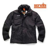 Scruffs Pro Waterproof Jacket Black Men's Fleece Lined Work Coat LARGE