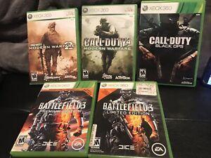 XBOX 360 Lot of 5: Call of Duty Modern Warfare 2, 4 Black Ops, Battlefield 3 Lim