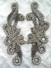 "XR27 Black Back Rhinestone Appliques Mirror Pair Motifs 7.5"" Bridal Sash Patches"