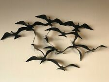 Bijan Vintage Birds Gulls Flight Black Metal Wall Sculpture Mid Century Jere MCM