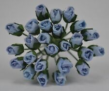 48 BABY BLUE ROSE BUDS (S) Mulberry Paper Flowers wedding miniature
