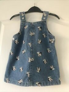 BABY GIRLS BLUE DENIM MINNIE MOUSE PINAFORE DRESS  LOGO BY PRIMARK AGE 9-12 MTH
