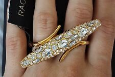 Women's Rachel Zoe Gold Plated and Crystal Two finger ring One Size NEW BOX $165