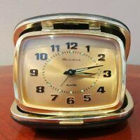 Vintage Bulova Lite Travel Alarm Clock Watch Black Leather Case Japan 1960s