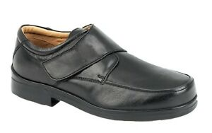 MENS ROAMERS EEE EXTRA WIDE FIT BLACK LEATHER ADJUSTABLE SHOES SIZE 6 - 15