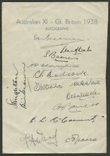1938 AUSTRALIAN TEAM official team sheet. 14 signatures including Don Bradman