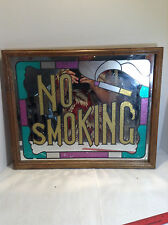 """Vintage """"NO SMOKING"""" Sign Mirror with Strained Glass Style On Wooden Frame."""