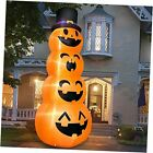 12 Foot Giant Halloween Inflatables Stacked Pumpkins with Witch Hat LED