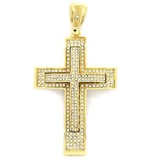 Mens Gold Plated Iced Out Large Two Layer Cross Hip Hop Pendant A47