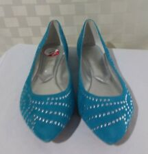 Enzo Angiolini Womens Sz 7.5M Turquoise Studded Suede Ballet Flats New Sahni