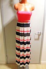 Women's PINK Print Maxi Evening Party Summer Dress Sexy STRIPE Long Dress SMALL