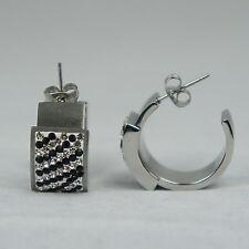 INOX JEWELRY Womens Polished Stainless Steel Crystal Matte Zebra Earrings