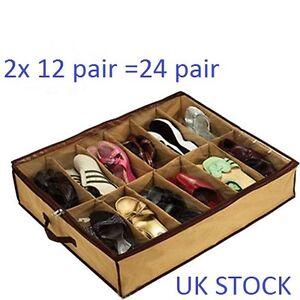 2x12 pair Under Bed Shoe Organiser Storage Holder Shoe Box Tidy Bag Rack Pockets