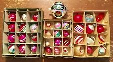 Vtg Antique Unsilvered Glass Pink Shiny Brite Christmas Tree Ornament Bulb Lot