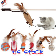New listing Pet Funny Toy Feather Stick Sisal Baby Cat Stick Set Chewing Mouse Fish Shape Us