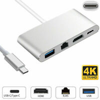 Type C 3.0 to USB-C RJ45 Ethernet 4K HDMI USB 3.0 Adapter Cable For Macbook Pro