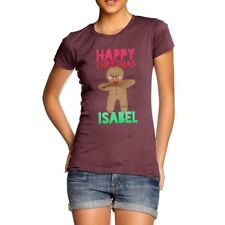 Twisted Envy Personalised Happy Christmas Gingerbread Man Women's Funny T-Shirt