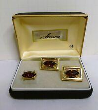 Fabulous Vintage Anson Amber Jewel Tie Tack  Cufflink SET in Box