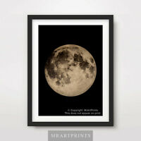 SEPIA MOON Art Print Poster Home Decor A4 A3 A2 Illustration Picture Night Sky