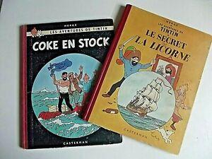 """LOT de 2 TINTINS  ANCIENS """" Le SECRET de la LICORNE """" & """" COKE en STOCK """""""